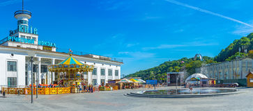 Panorama of the Postal Square. KIEV, UKRAINE - SEPTEMBER 8, 2016: The fountain in front of River Port in Postal Poshtova Square in Podol district, on September 8 royalty free stock image