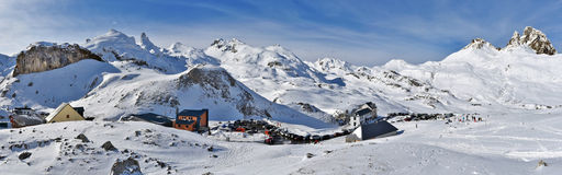 Panorama of Pourtalet mountain pass in winter in Pyrenees Stock Photo