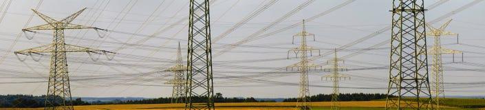 Panorama power poles Royalty Free Stock Photo