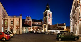 Panorama of Poznan in Poland. Kolegiacki Square city ​​council of Poznan and Collegiate Church of Our Lady of Perpetual Help and St.. Mary royalty free stock photo