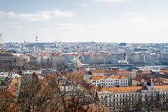 Panorama Praga Pogoda jest chmurna fotografia royalty free