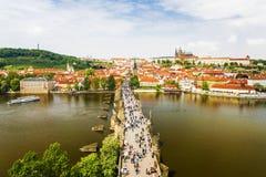 Panorama Praga, widok Charles most Czeski Republ zdjęcie royalty free