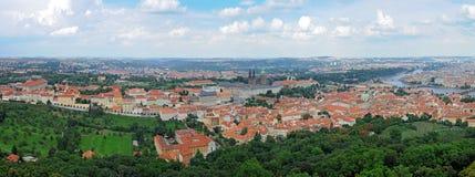 panorama prague Arkivfoton
