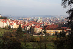 Panorama of Prague in the autumn. View of the historic Old Town center. Czech Republic Stock Photography