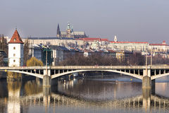 Panorama of Prague and bridge with reflection over river Vltava. Royalty Free Stock Image