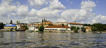 Panorama of Prague Castle from across Vltava River Royalty Free Stock Photography
