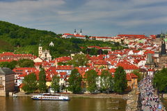 Panorama, prague castle, Charles Bridge, Moldau, Prague, Czech republic Stock Images