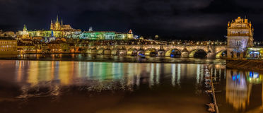 Panorama of Prague Castle at Night royalty free stock photography