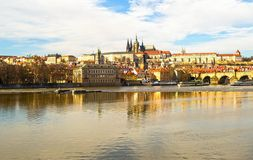 Panorama of Prague Castle residence of the president cathedral of the twentieth century attraction mala strana fortress shore. Vatslav. Czech Republic Prague stock photo