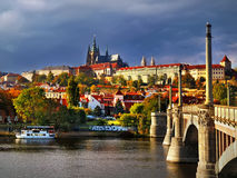 Panorama Prague Castle in the sun Stock Image