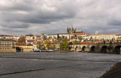 Panorama of Prague Castle. From the Vltava river Royalty Free Stock Image