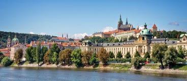 Panorama of Prague castle and the Vltava river, Czech Republic. Panorama of Prague castle and the Vltava river in Czech Republic Stock Photos