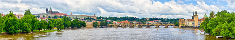 Panorama in Prague - with Charles Bridge and Hradcany hill Stock Image