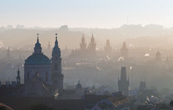 Panorama of prague city silhouettes Stock Image