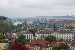 Panorama of Prague. Cityscape of old city with river Vltava Stock Photography