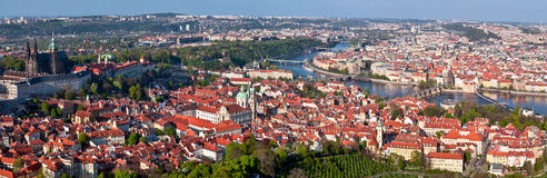 Panorama of Prague. Create one snapshot from the observation platform at Pergine hill. In the evening, in the direction of the historic center Stock Photos