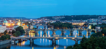 Panorama Prague at dusk Stock Photos