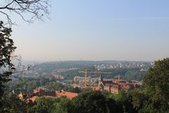 Panorama of Prague from the height of Petrin hill, Czech Republic royalty free stock photography