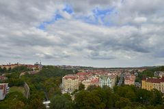 Panorama of Prague with its houses and landmarks before storm. stock photo