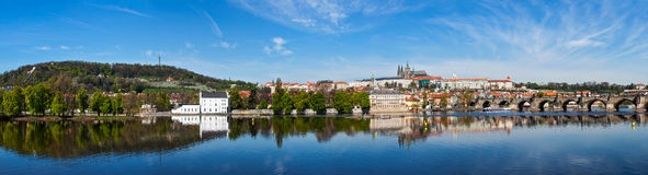 Panorama of Prague: Mala Strana,  Charles bridge and Prague cast Stock Photos