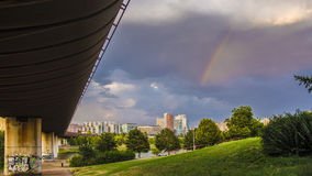 Panorama of Prague with metro and rainbow. Panorama of Prague 13 with metro tube and rainbow Royalty Free Stock Photos