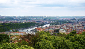 Panorama of Prague old town with the bridges over the river Vltava Stock Photo