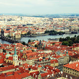 Panorama of Prague Old Town and Vltava river, Czech Republic. Royalty Free Stock Photography