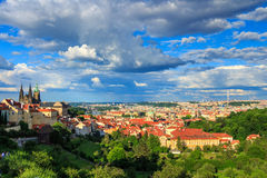 Panorama of Prague from Petrin gardens, Castle and St. Vitus cathedral visible of the left, bridges Stock Photos