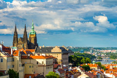 Panorama of Prague from Petrin gardens, Castle and St. Vitus cathedral visible of the left, bridges Stock Image