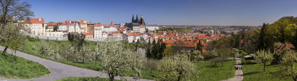 Panorama of Prague from Petrin hill Royalty Free Stock Photos