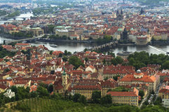 Panorama of Prague from Petrin Lookout Tower Royalty Free Stock Photo