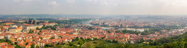 Panorama of Prague from Petrin Tower Royalty Free Stock Photo