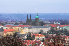 Panorama of Prague and the Prague Castle Stock Image