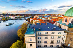 Panorama of Prague with red roofs from above summer day at dusk, Czech Republic Royalty Free Stock Images