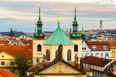 Panorama of Prague with red roofs from above summer day at dusk, Czech Republic Royalty Free Stock Photo