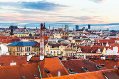 Panorama of Prague with red roofs from above summer day at dusk, Czech Republic Stock Images