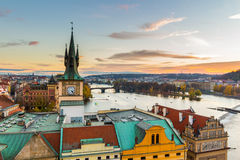 Panorama of Prague with red roofs from above summer day at dusk, Czech Republic Stock Photo