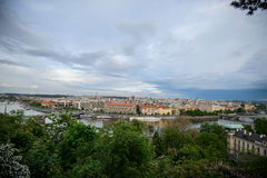 Panorama of Prague with Red Roofs from Above Summer Day at Dusk Stock Image