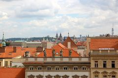Panorama of Prague, red roofs royalty free stock photography