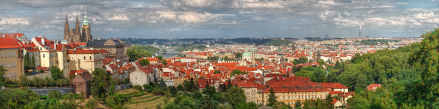 Panorama of Prague with red roofs of Prague stock photo
