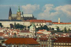 Panorama of Prague roofs and St. Vitus cathedral royalty free stock photos