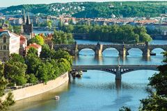 Panorama of Prague`s bridges Stock Image