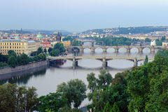 Panorama of Prague`s bridges Stock Photo
