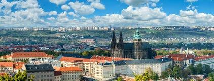 Panorama of Prague with Saint Vitus Cathedral Stock Photos