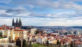 panorama- prague sikt Royaltyfri Bild