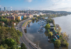 Panorama of Prague. Top view. Cityscape with river Vltava. Bay for boats, yachts Royalty Free Stock Photo