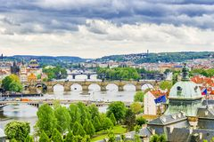Panorama of Prague. View of the bridges.  Royalty Free Stock Image