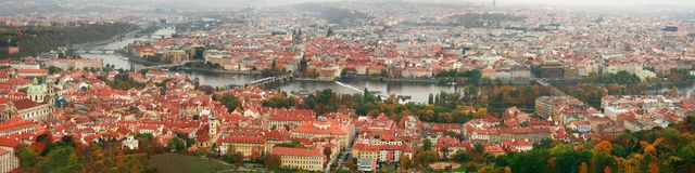 Panorama of Prague with a view of Charles Bridge Royalty Free Stock Photo