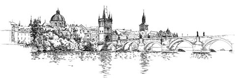 Panorama of Prague. View of Charles Bridge Royalty Free Stock Photography