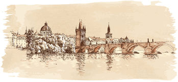 Panorama of Prague. View of Charles Bridge Royalty Free Stock Photo